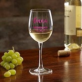 Bridal Party Colored Vinyl Personalized White Wine Glass - 17865-W