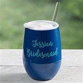Personalized Stemless Wine Party Tumbler- Navy Blue - 17866-B