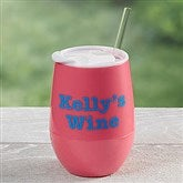 Personalized Stemless Wine Party Tumbler- Pretty Pink - 17866-P
