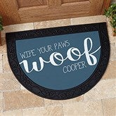 Woof & Meow Personalized Half Round Doormat - 17867