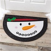 Cheery Snowman Face Personalized Half Round Doormat