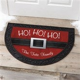 HO! HO! HO! Santa Belt Personalized Half Round Doormat - 17873