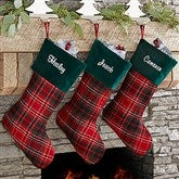 Holiday Plaid Personalized Christmas Stocking - 17895