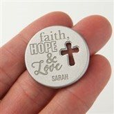 Faith, Hope & Love Personalized Cross Pocket Token - 17910