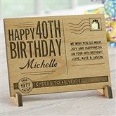 Sending Vintage Birthday Wishes To You Personalized Wood Postcard - 17917