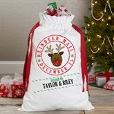 Reindeer Mail Personalized Canvas Drawstring Santa Bag - 17935