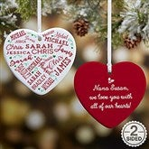 2-Sided Close To Her Heart Personalized Heart Ornament - 17949-2