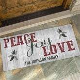 Peace, Love, Joy Personalized Oversized Doormat- 24x48 - 17965-O