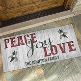 Peace, Joy, Love Personalized Oversized Doormat- 24x48 - 17965-O