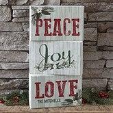 Peace, Joy, Love Personalized Rectangle Shelf Blocks- Set of 3 - 17966