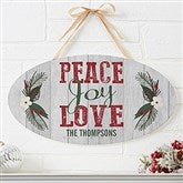 Peace, Joy, Love Personalized Oval Wood Sign - 17967