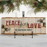 Peace, Love, Joy Personalized Basswood Plank - 17969