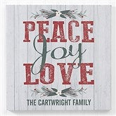 Peace, Love, Joy Personalized Canvas Print -12
