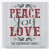 Peace, Joy, Love Personalized Canvas Print -12