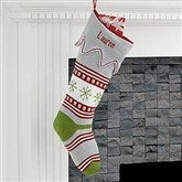 Trendy Holiday Embroidered Green Toe Knit Stocking - 17973-G