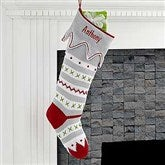 Trendy Holiday Embroidered Red Toe Knit Stocking - 17973-R