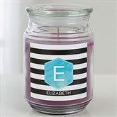 Modern Stripe Personalized Scented Glass Candle Jar - 17974