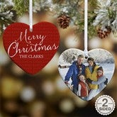 2-Sided Together Forever Personalized Heart Photo Ornament - 18007-2