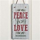 Peace, Joy, Love Personalized Slate Plaque - 18014