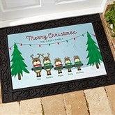 Reindeer Family Character Personalized Doormat- 18x27 - 18018