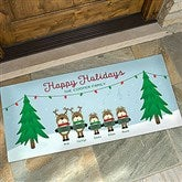Reindeer Family Character Personalized Oversized Doormat- 24x48 - 18018-O