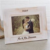 Wedding Memories Engraved White Washed Picture Frame
