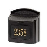 Classic House Number Personalized Aluminum Wall Mailbox- Black/Gold - 18040D-BG