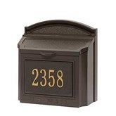 Classic House Number Personalized Aluminum Wall Mailbox- Bronze - 18040D-BR