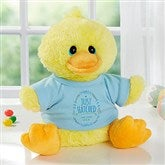Just Hatched New Baby Personalized Quacking Plush Duck- Boy - 18050-B