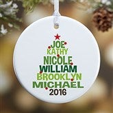 1-Sided Christmas Family Tree Personalized Ornament - 18061-1