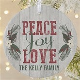 1-Sided Peace, Joy, Love Personalized Ornament-Large - 18065-1L