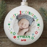 Baby's 1st Christmas Personalized Deluxe Photo Ornament