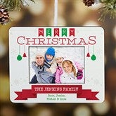 Holiday Banner Personalized Mini-Frame Ornament - 18069