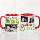 Candy Cane Wishes and Mistletoe Kisses Photo Christmas Mug 11 oz.- Red - 18072-R