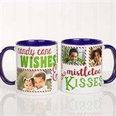 Candy Cane Wishes and Mistletoe Kisses Photo Christmas Mug 11 oz.- Blue - 18072-BL