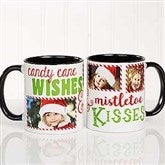 Candy Cane Wishes and Mistletoe Kisses Photo Christmas Mug 11oz.- Black - 18072-B