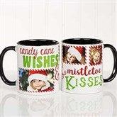 Candy Cane Wishes and Mistletoe Kisses Photo Christmas Mug 11oz.- Black - 18072-B