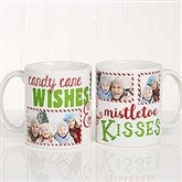 Candy Cane Wishes and Mistletoe Kisses Photo Christmas Mug 11 oz.- White - 18072-S