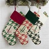 Houndstooth Monogram Personalized Burgundy Christmas Stocking - 18084