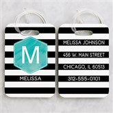 Modern Stripe Personalized Luggage Tag 2 Pc Set - 18093