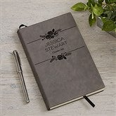 Floral Accents Personalized Charcoal Writing Journal - 18096-C