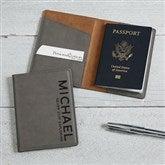 Bold Style Personalized Passport Holder- Charcoal - 18116-G
