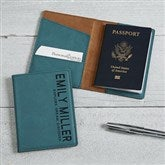 Bold Style Personalized Passport Holder- Teal - 18116-T