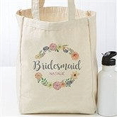 Floral Wreath Personalized Petite Bridal Tote Bags - 18120