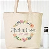 Floral Wreath Personalized Bridal Tote Bags - 18121