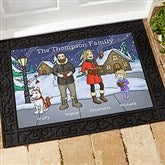 Caroling Family Characters Personalized Doormat- 18x27 - 18134