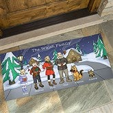 Caroling Family Characters Personalized Oversized Doormat- 24x48 - 18134-O