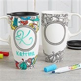 Just Add Color and Personalize It! Coloring Travel Latte Mug