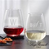 Luigi Bormioli® Personalized 21oz. Stemless Wine Glass- Monogram - 18155-SM