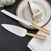 Gold Hammered Engraved Cake Knife & Server Set - 18166